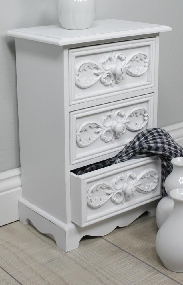 kommode schr nkchen 3 schubladen wei antik schrank schmuck landhaus rosali ebay. Black Bedroom Furniture Sets. Home Design Ideas