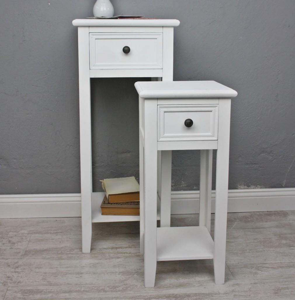 2x telefontisch set tisch wei antik landhaus beistelltisch holz blumentisch neu ebay. Black Bedroom Furniture Sets. Home Design Ideas