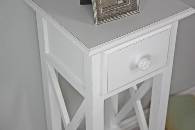 telefontisch mit kreuz wei antik landhaus holz beistelltisch konsole schublade ebay. Black Bedroom Furniture Sets. Home Design Ideas