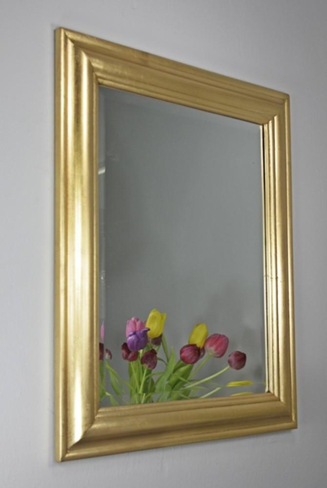 Spiegel 62 x 52cm wandspiegel schlicht gold holz landhaus holzrahmen badspiegel ebay - Badspiegel holzrahmen ...