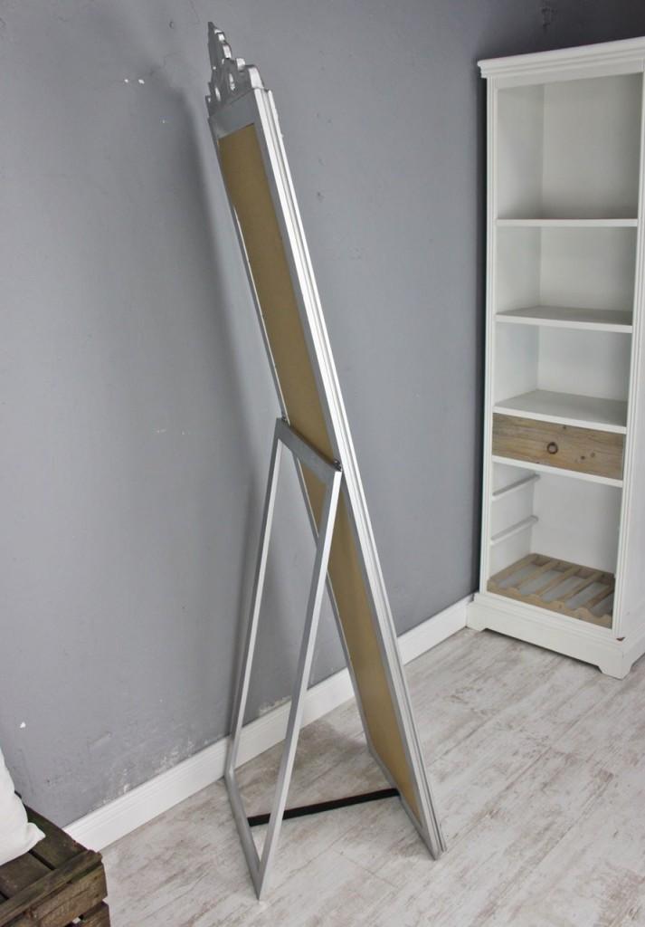 standspiegel gro 180 x 45 cm silber barock spiegel antik landhaus holz patina ebay. Black Bedroom Furniture Sets. Home Design Ideas