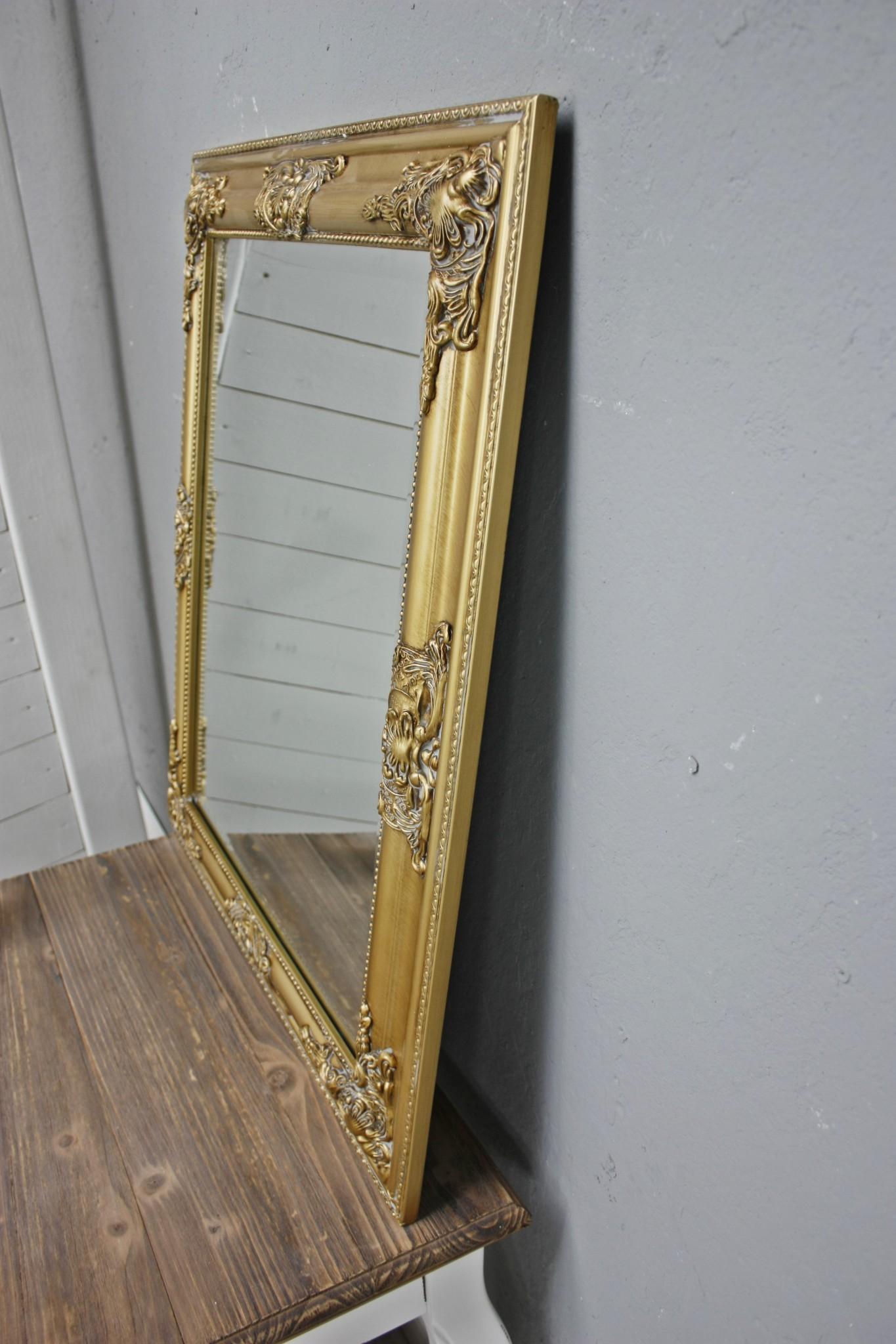 spiegel 62x52 cm wandspiegel barock gold holz landhaus holzrahmen badspiegel ebay. Black Bedroom Furniture Sets. Home Design Ideas