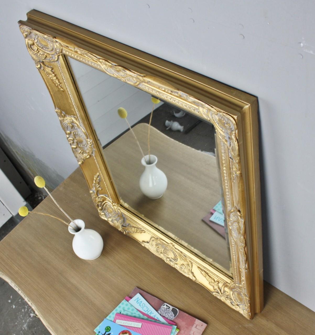 spiegel gold antik 62x52 cm holz neu wandspiegel barock. Black Bedroom Furniture Sets. Home Design Ideas