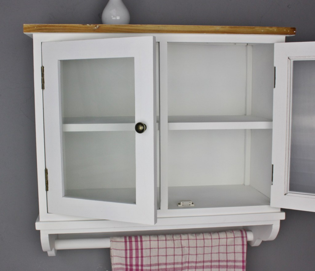 wandschrank mit glast ren wandregal wei holz shabby landhaus regal wandablage ebay. Black Bedroom Furniture Sets. Home Design Ideas