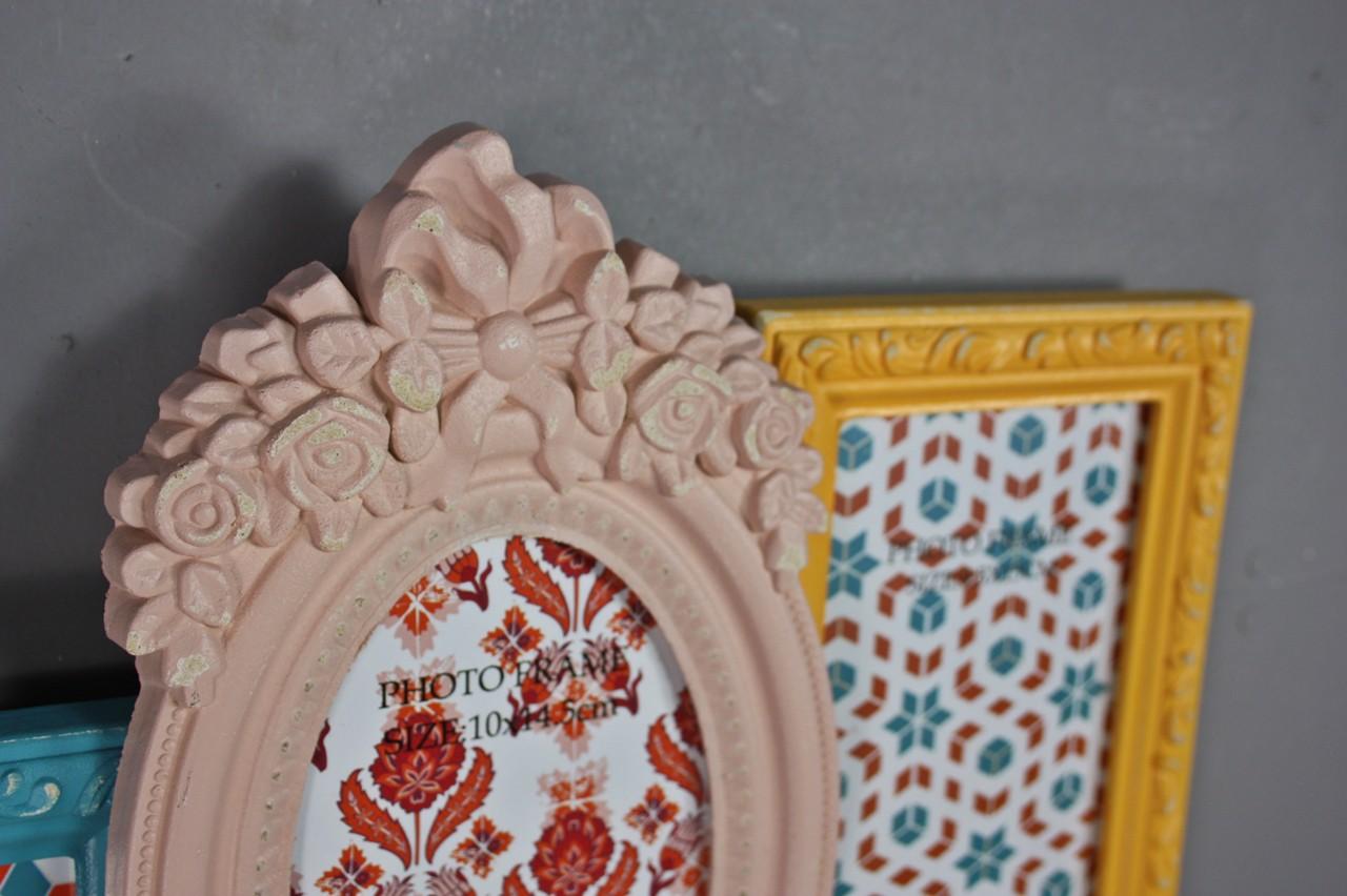 bilderrahmen collage bunt antik neu holz wandrahmen rahmen rosa blau landhaus ebay. Black Bedroom Furniture Sets. Home Design Ideas