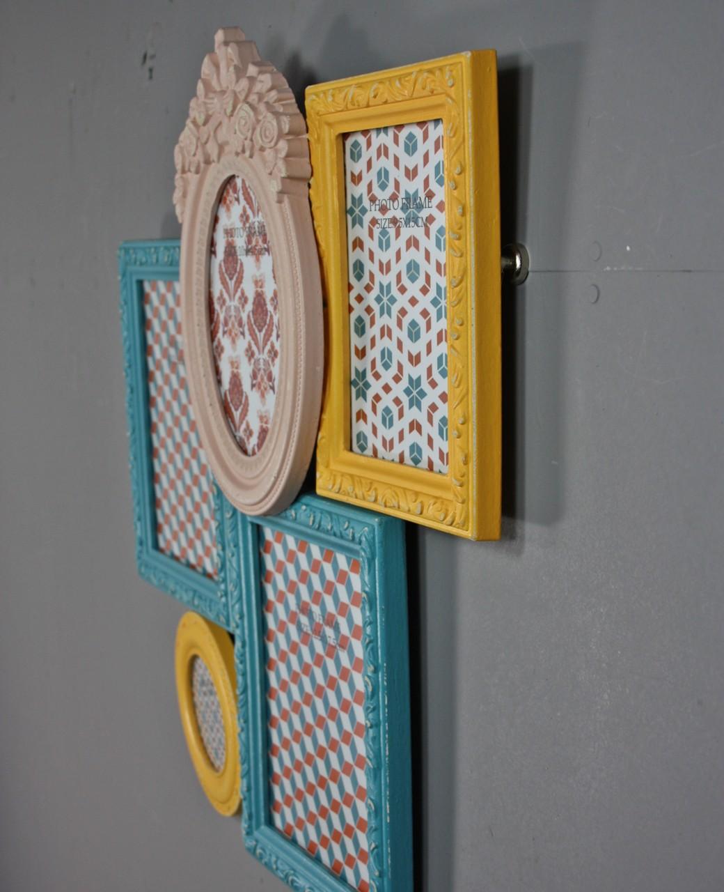 bilderrahmen collage bunt antik neu holz wandrahmen rahmen. Black Bedroom Furniture Sets. Home Design Ideas