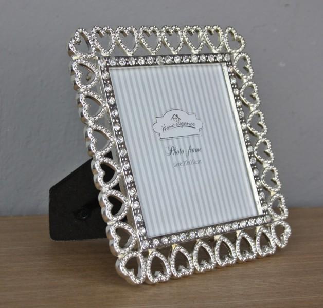 bilderrahmen fotorahmen silber wei neu rahmen glas glitzer herz fu bling ebay. Black Bedroom Furniture Sets. Home Design Ideas