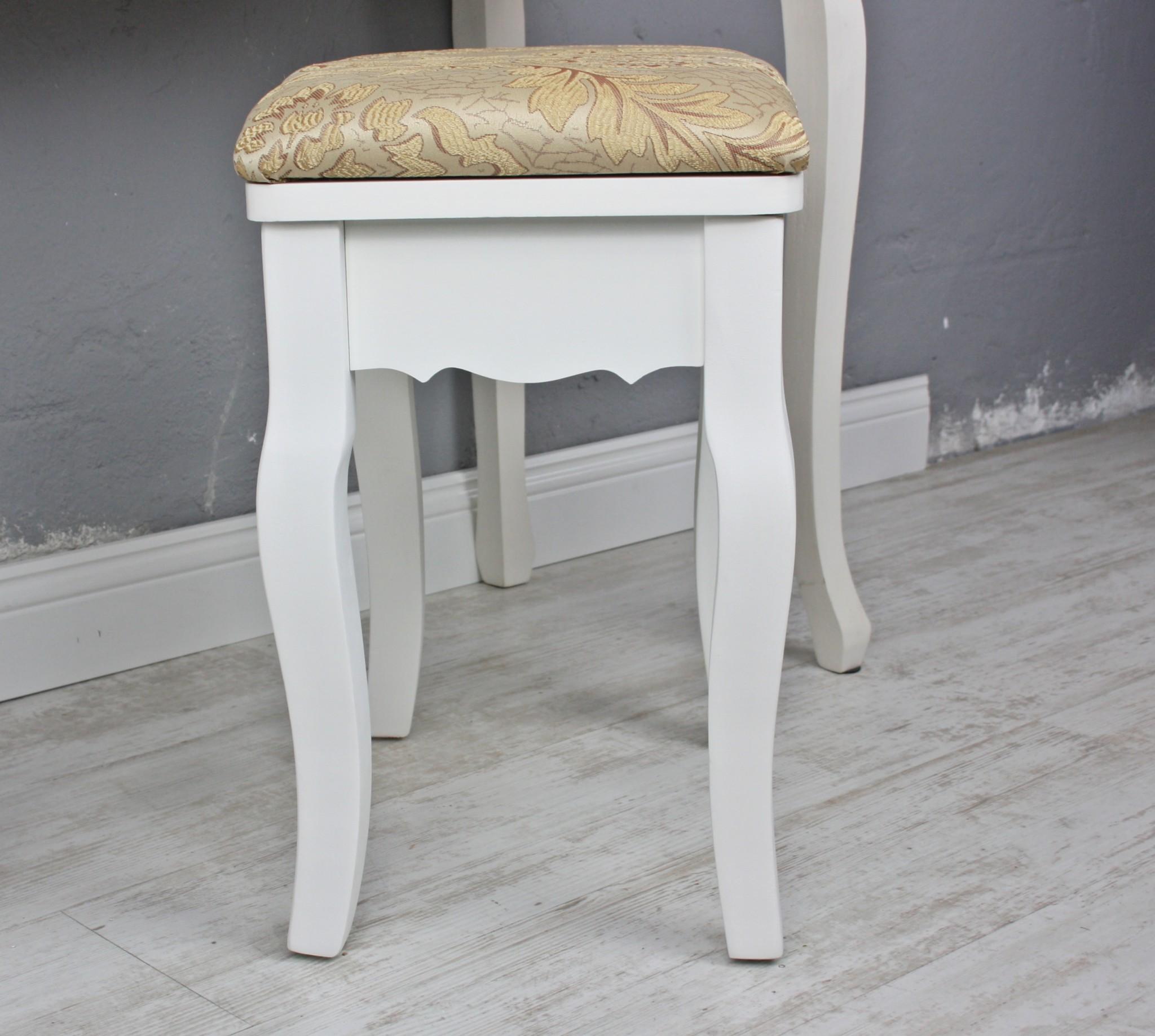 sitzhocker hocker floral wei gold landhaus schminktisch holzhocker blumen ebay. Black Bedroom Furniture Sets. Home Design Ideas
