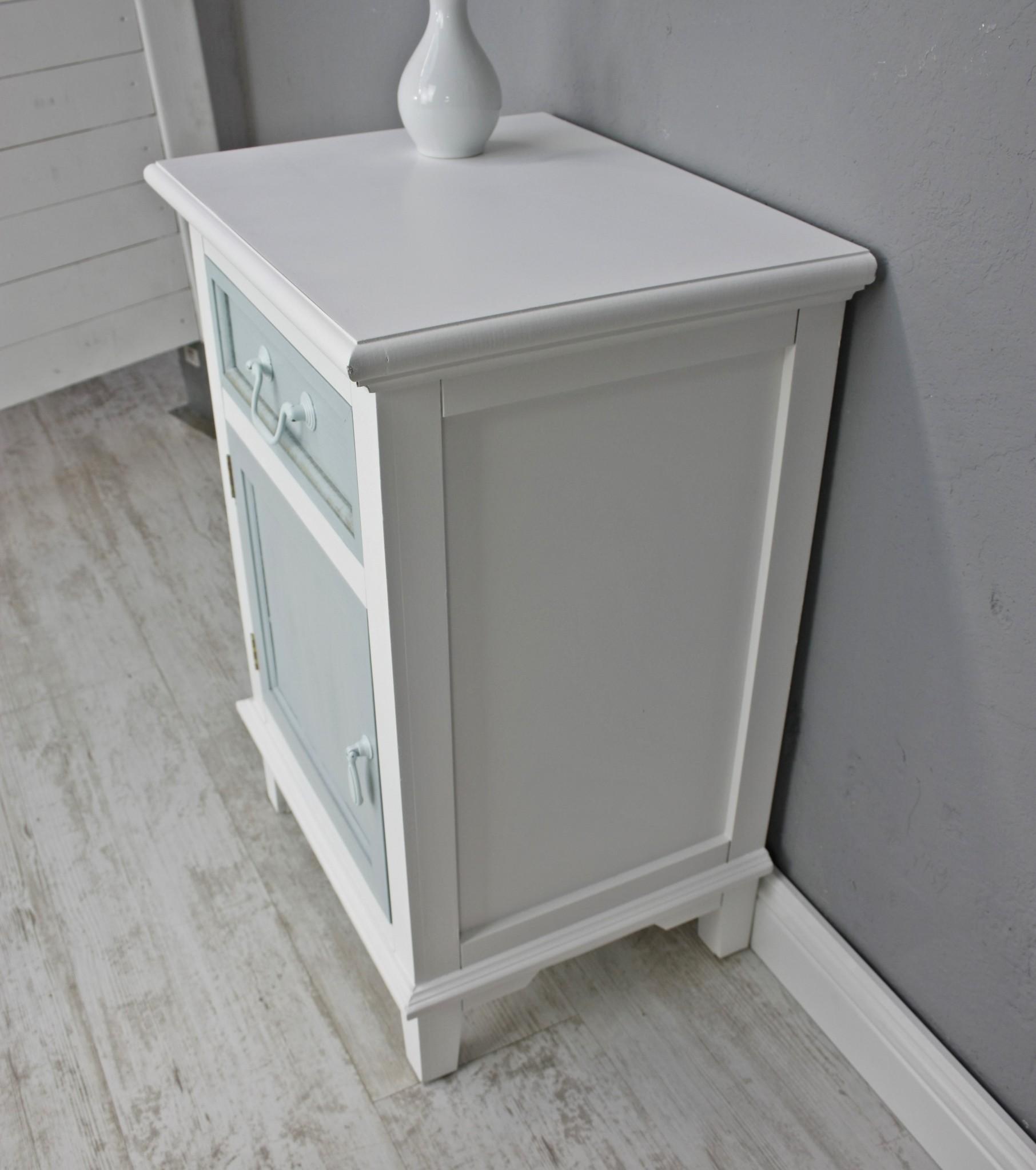 Kommode Schublade Tür Schrank weiß blau antik Landhaus NEU  -> Kommode Antik Blau