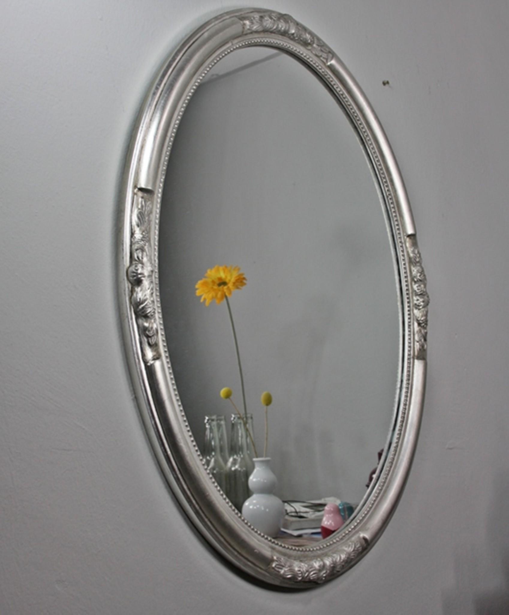 Wandspiegel oval silber holz 77cm - Wandspiegel oval ...