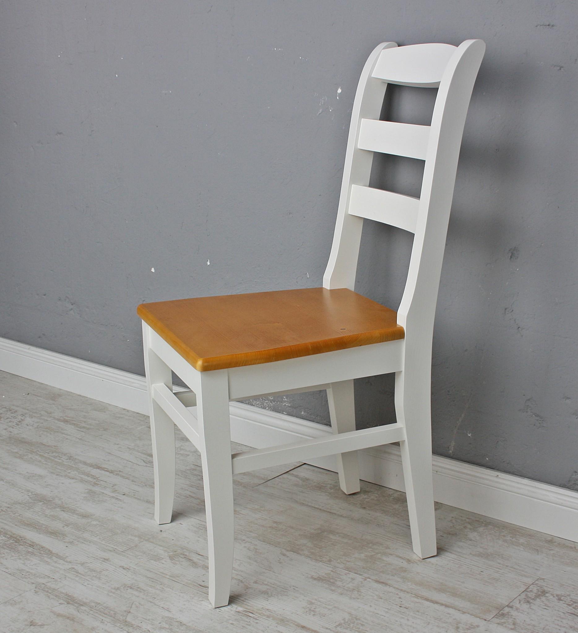 holzstuhl wei braun lena massiv. Black Bedroom Furniture Sets. Home Design Ideas
