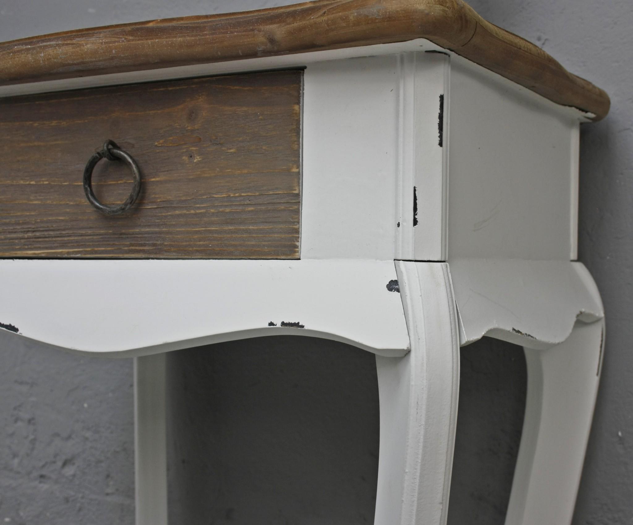 Beistelltisch Holz Landhaus ~   Tisch weiß braun chic Landhaus Beistelltisch Holz Schublade  eBay