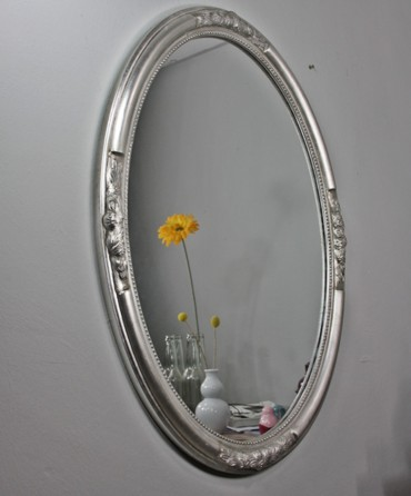 Wandspiegel oval gold holz 77cm - Spiegel oval silber ...